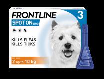 Frontline Spot-On Flea & Tick Treatment Dog 2 -10 Kg - 3 Pack
